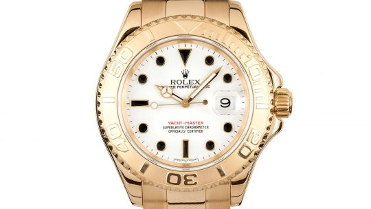 Replica Rolex Yacht-Master 42– White Gold, Black Ceramic Bezel